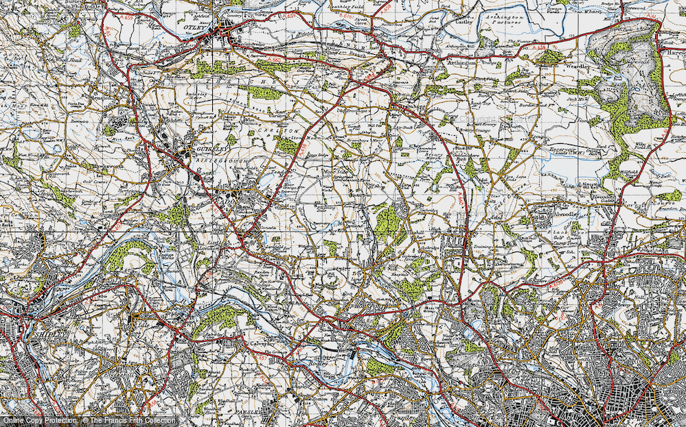 Old Map of Historic Map covering Leeds, Bradford International Airport in 1947
