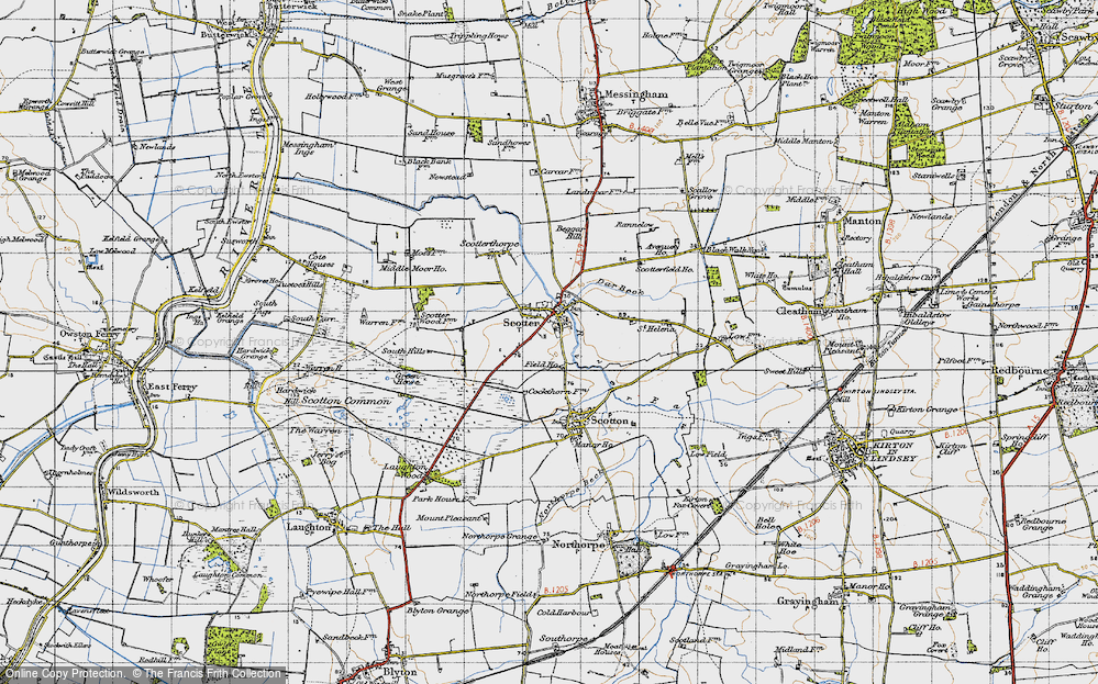 Old Map of Scotter, 1947 in 1947