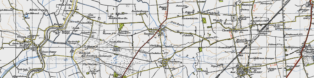 Old map of Scotter in 1947