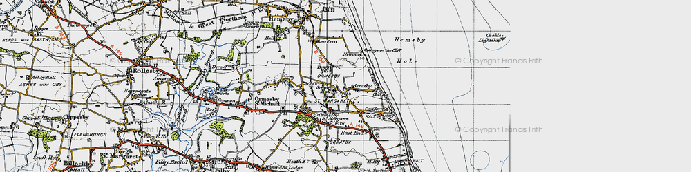 Old map of Scratby in 1945