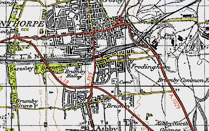 Old map of Scunthorpe in 1947