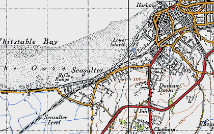 Old map of Whitstable Bay in 1946