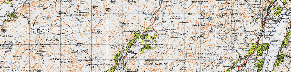 Old map of Seathwaite in 1947