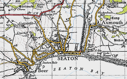 Old map of Seaton in 1946