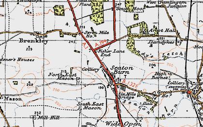 Old map of Seaton Burn in 1947