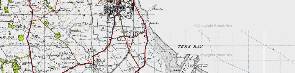 Old map of Seaton Carew in 1947