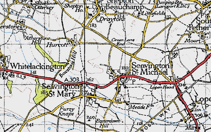 Old map of Seavington St Michael in 1945