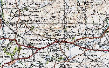 Old map of Sedbergh in 1947