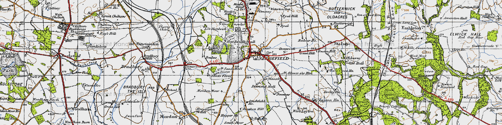 Old map of Sedgefield in 1947