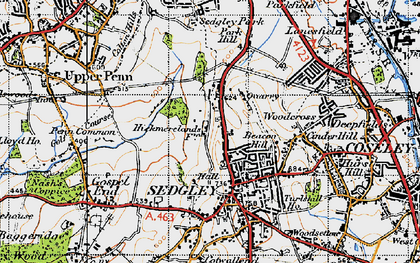 Old map of Sedgley in 1946