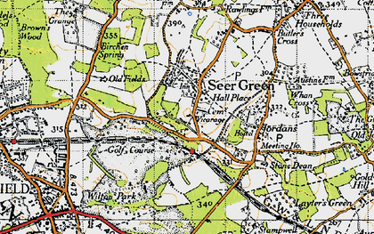 Old map of Seer Green in 1945