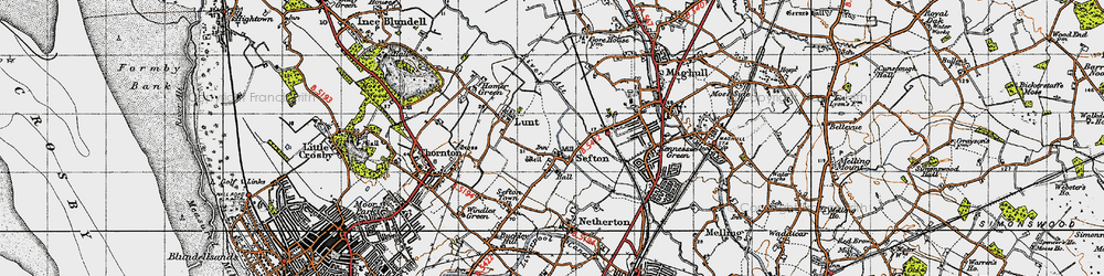 Old map of Sefton in 1947