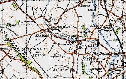 Old map of Seisdon in 1946