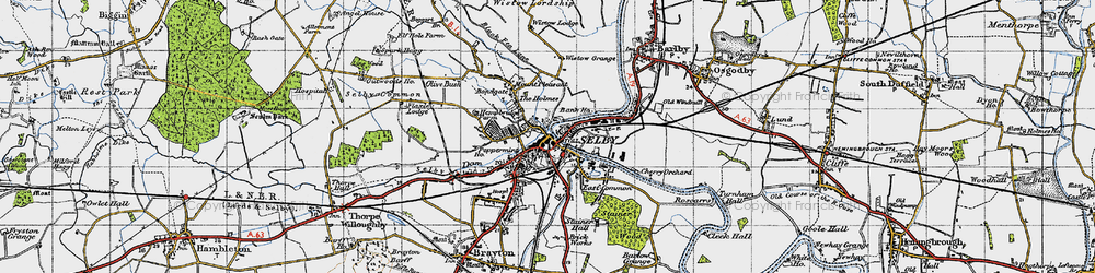 Old map of Selby in 1947