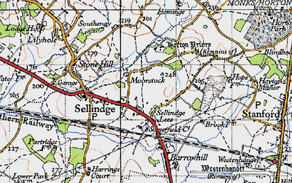 Old map of Sellindge in 1940