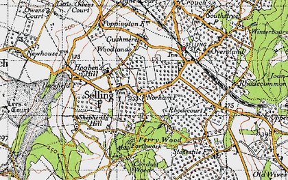 Old map of Selling in 1946
