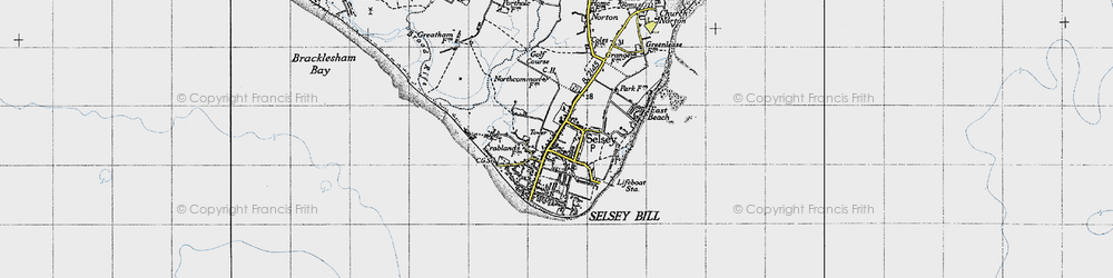 Old map of Selsey in 1945