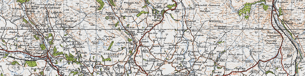 Old map of Whitewell Folds in 1947
