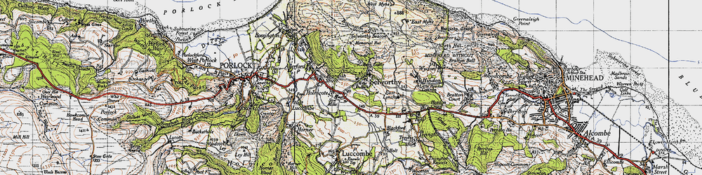 Old map of Selworthy in 1946