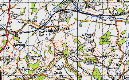 Old map of Tittle Path Hill in 1940