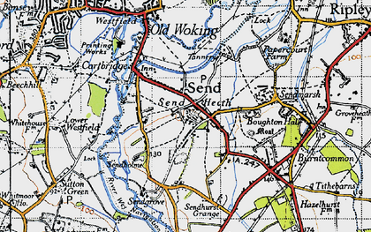 Old map of Send in 1940