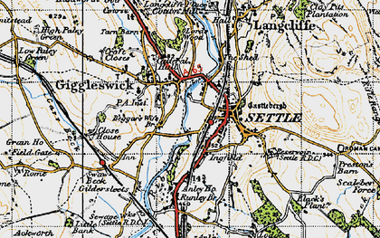 Old map of Settle in 1947