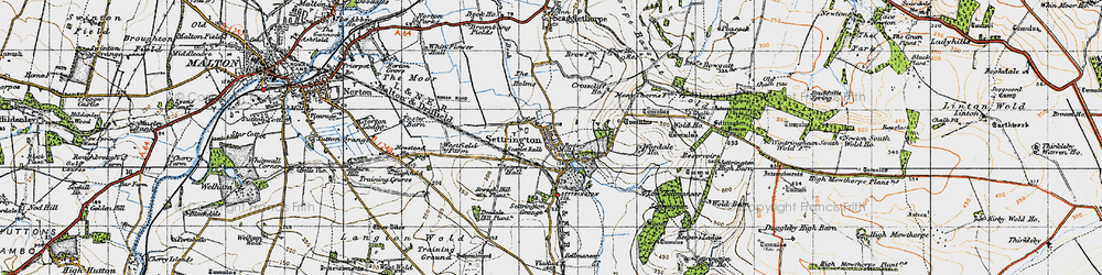 Old map of Wold Ho in 1947