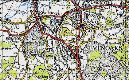 Old map of Sevenoaks in 1946