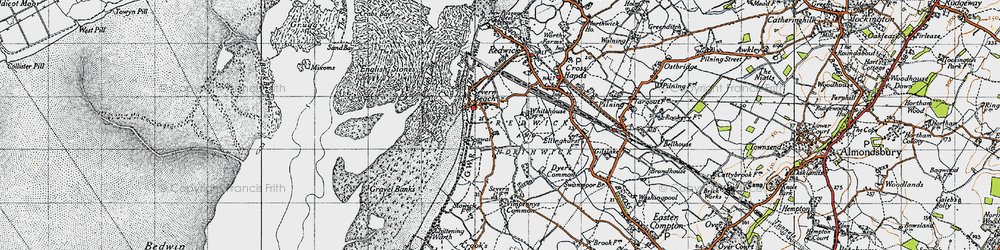 Old map of Severn Beach in 1946
