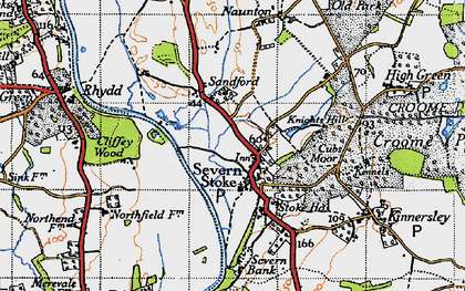 Old map of Severn Stoke in 1947
