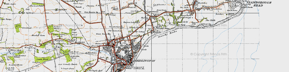 Old map of Sewerby in 1947