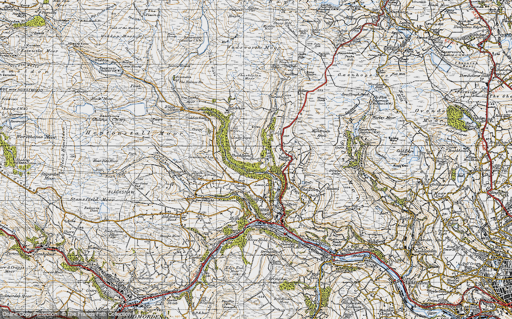 Old Map of Historic Map covering Abel Cross in 1947