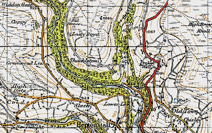 Old map of Abel Cross in 1947