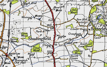 Old map of Titsal Wood in 1946