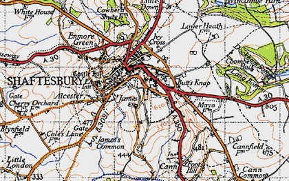 Old map of Shaftesbury in 1945