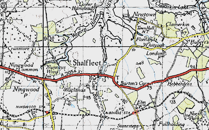 Old map of Shalfleet in 1945