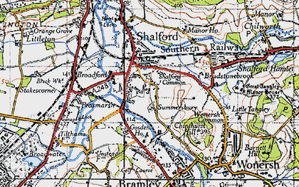 Old map of Shalford in 1940