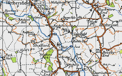 Old map of Shalford in 1945