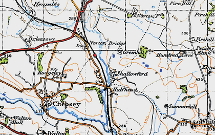 Old map of Shallowford in 1946