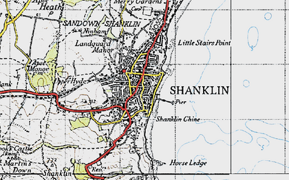 Old map of Shanklin in 1945