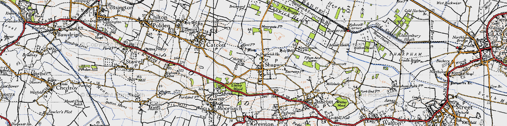 Old map of Shapwick in 1946
