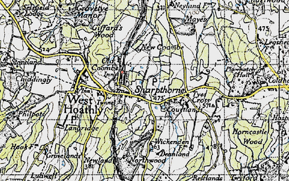 Old map of Sharpthorne in 1940