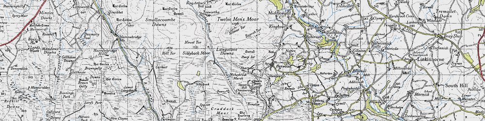 Old map of Witheybrook Marsh in 1946