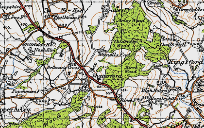Old map of Shatterford in 1947