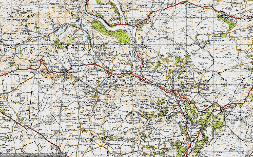 Old Map of Historic Map covering Bamford Sta in 1947