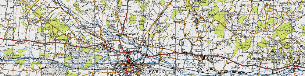 Old map of Shaw in 1945