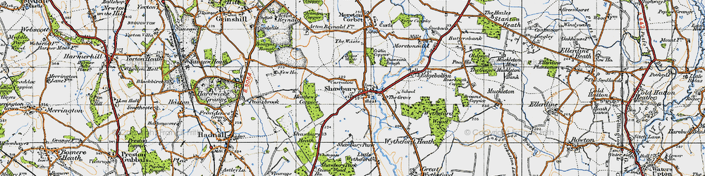 Old map of Shawbury in 1947