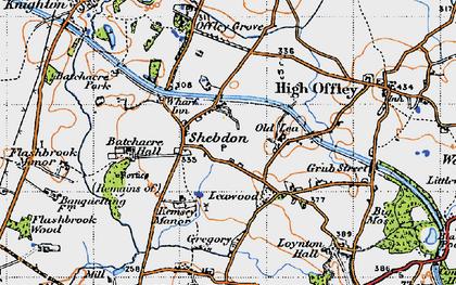 Old map of Wharf Inn in 1946