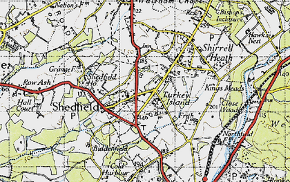 Old map of Shedfield in 1945