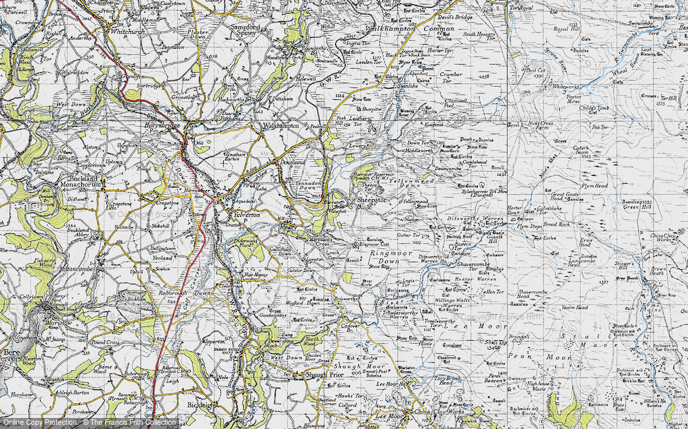 Old Map of Historic Map covering Legis Tor in 1946